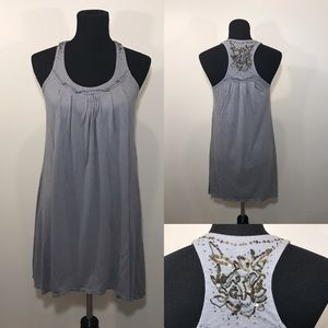 American Eagle Gray Pintuck Pleated Beaded Dress